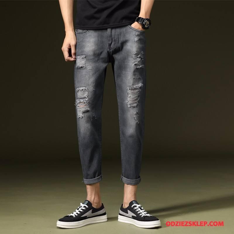 Męskie Jeansy Z Dziurami Dżinsy Slim Fit Mały Spodnie 2018 Czarny Sklep