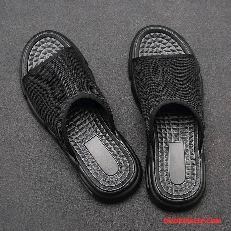 Męskie Kapcie Sandały Moda Siatkowe Buty Casual Oddychające Czarny Sklep