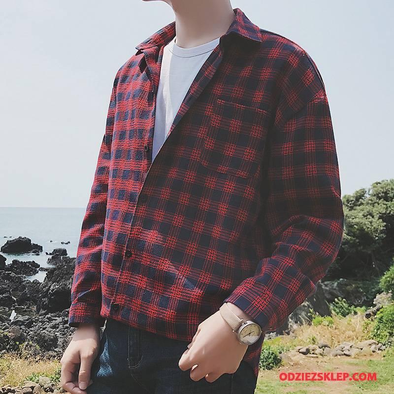 Męskie Koszula Casual 2018 Jesień Męska Zima Krata Czerwony Sprzedam