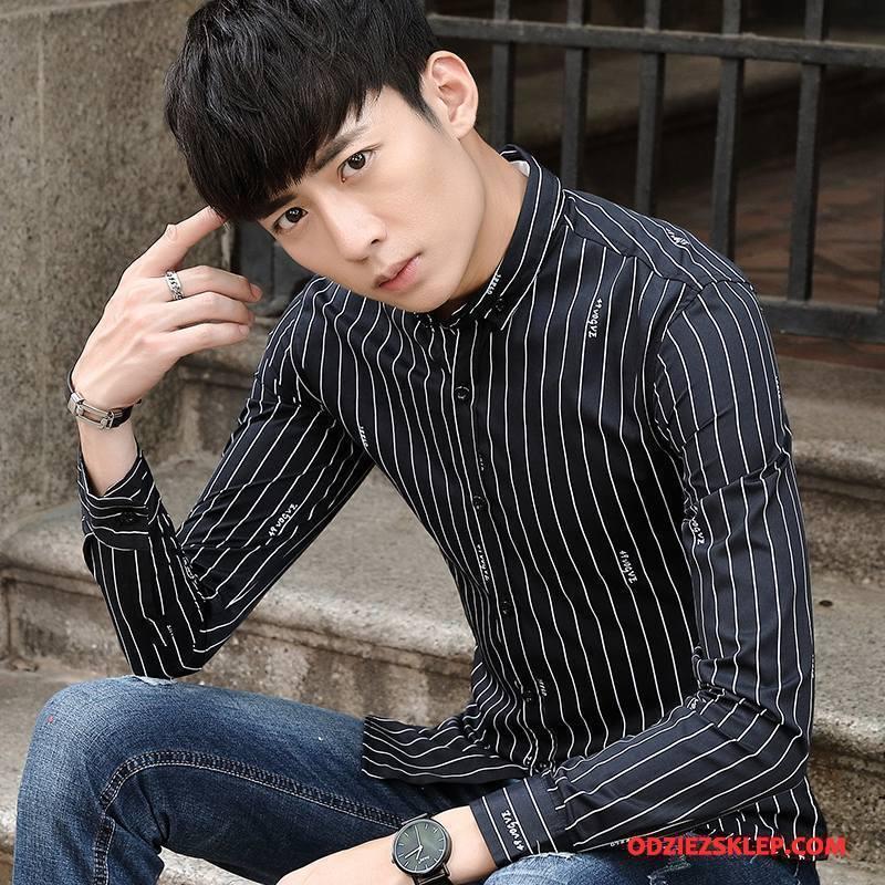 Męskie Koszula Casual Długi Rękaw Slim Fit Wiosna Młodzież Nowy Czarny Kup