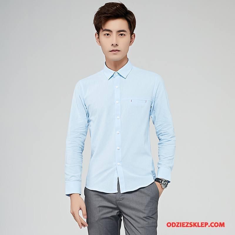 Męskie Koszula Czyste Slim Fit Świeży Vintage Tendencja Męska Jasny Niebieski Biały Tanie