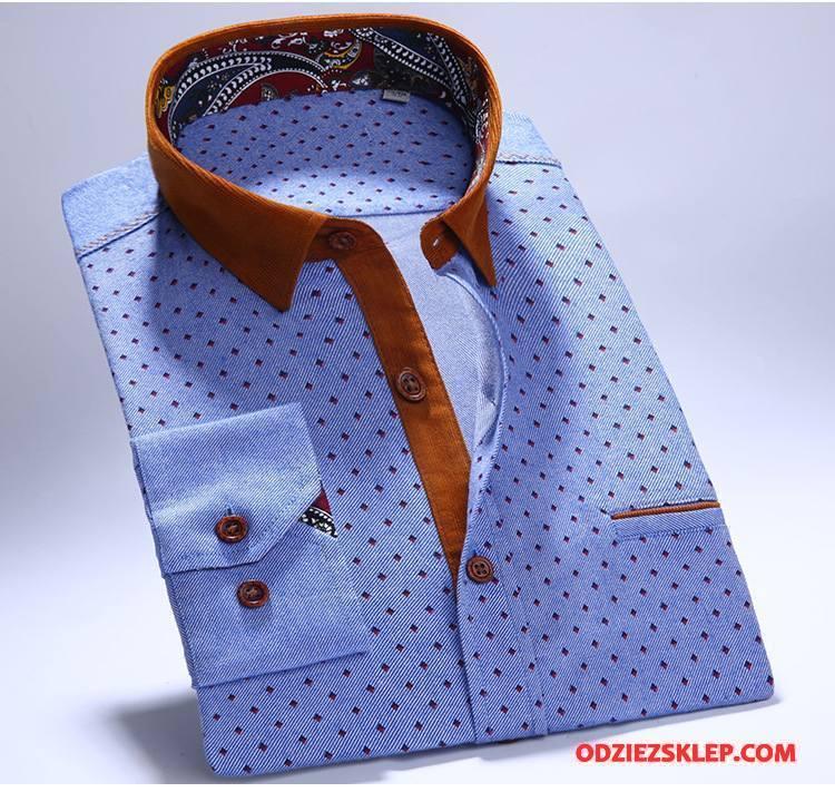 Męskie Koszula Długi Rękaw Jesień Bawełna Męska Wiosna Casual Niebieski Na Sprzedaż