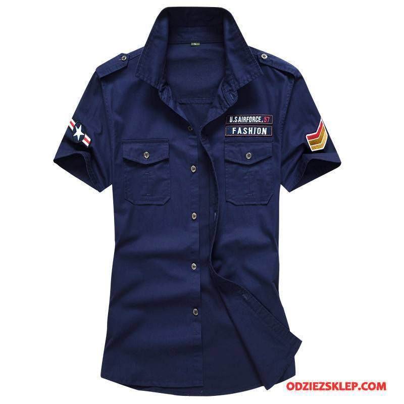 Męskie Koszula Duży Rozmiar Cargo Casual Sprane Bawełna Męska Ciemno Niebieski Sprzedam
