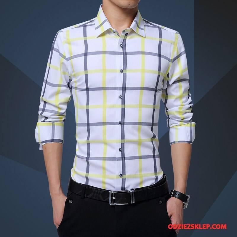 Męskie Koszula Krata Cienkie Sukienka Biznes Długi Rękaw Slim Fit Żółty Sprzedam