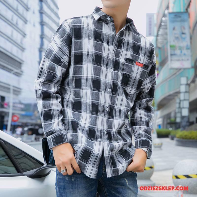 Męskie Koszula Krata Nowy Student Proste Bawełniane Kieszenie Mieszane Kolory Szary Sklep