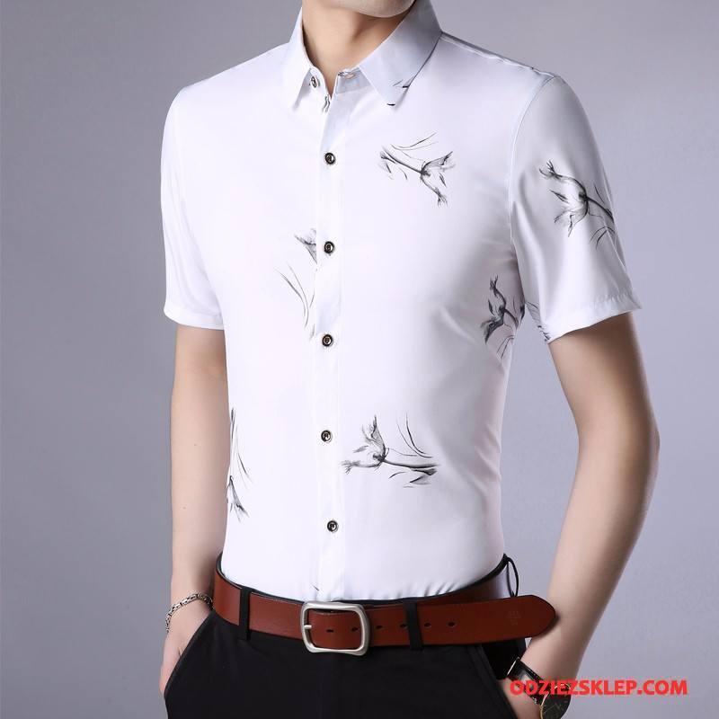 Męskie Koszula Męska Młodzież Tendencja Koszula Z Krótkim Rękawem Duży Rozmiar Lato Biały Online