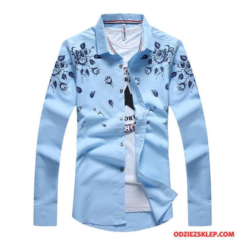 Męskie Koszula Męska Slim Fit Biznes Tendencja Drukowana Nowy Jasny Niebieski Sprzedam