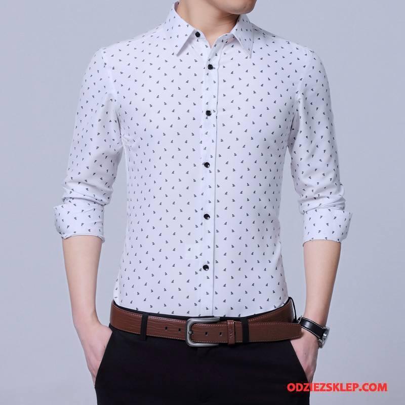 Męskie Koszula Młodzież Smok Wiosna Drukowana Duży Rozmiar Slim Fit Biały Tanie