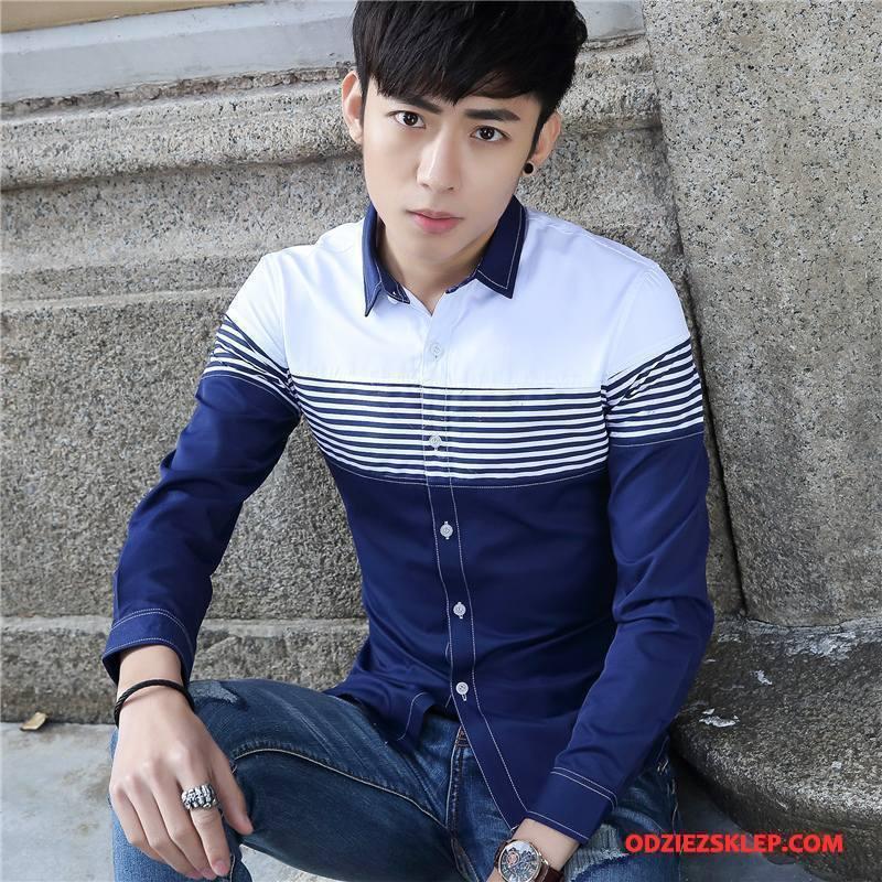 Męskie Koszula Młodzież Tendencja Slim Fit Nowy Cienkie Szycie Niebieski Biały Sprzedam