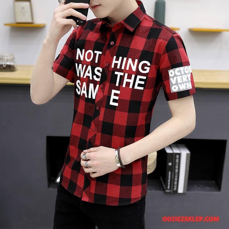 Męskie Koszula Nowy Lato Slim Fit Casual Piękny Koszula Z Krótkim Rękawem Czerwony Sprzedam