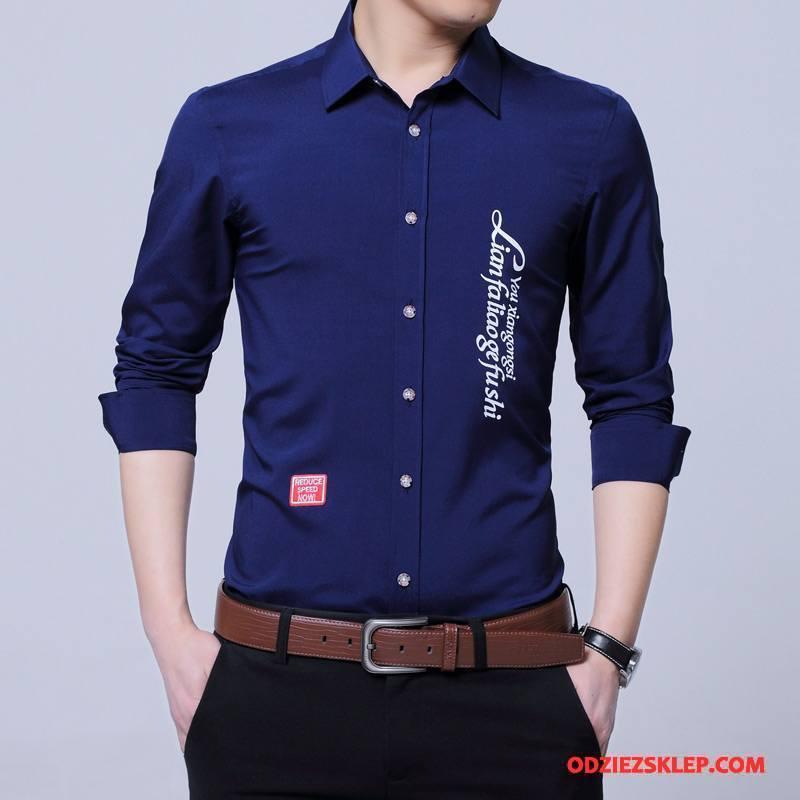 Męskie Koszula Nowy Moda Duży Rozmiar Młodzież Długi Rękaw Wiosna Ciemno Niebieski Tanie