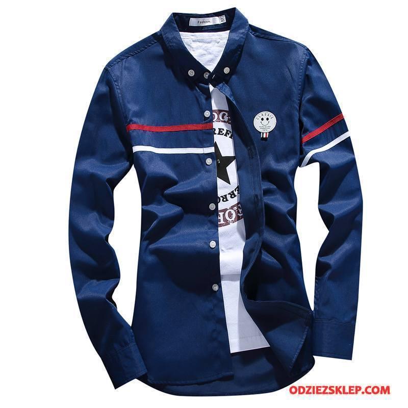 Męskie Koszula Tendencja Cienkie Długi Rękaw Biznes Jesień Slim Fit Ciemno Niebieski Sprzedam