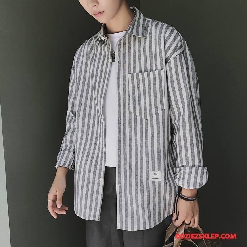 Męskie Koszula Tendencja Nowy Moda Szerokie Wygodne Długi Rękaw Czarny Sprzedam