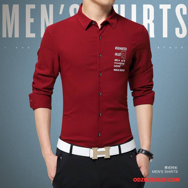 02d75a0302eee Męskie Koszula Wysoki Koniec Nowy Tendencja Długi Rękaw Sukienka Slim Fit  Czysta Czerwony Sprzedam