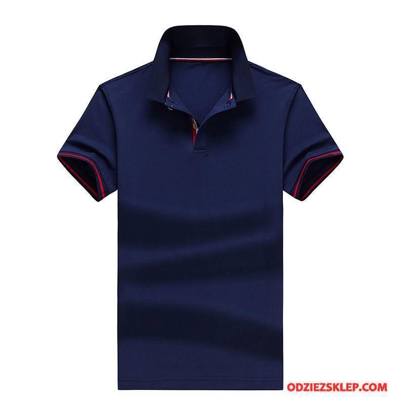 Męskie Koszulka Polo 2018 Krótki Rękaw Casual Biznes Męska Nowy Ciemno Niebieski Dyskont