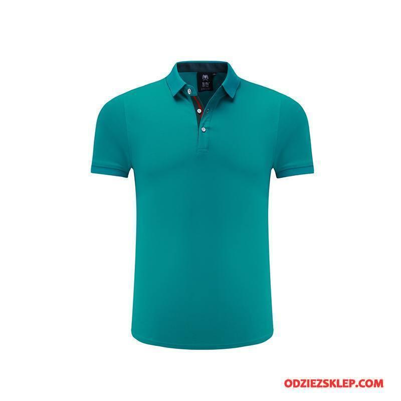 Męskie Koszulka Polo Bawełna Lato Krótki Rękaw Kombinezony Robocze Męska T-shirt Zielony Sprzedam