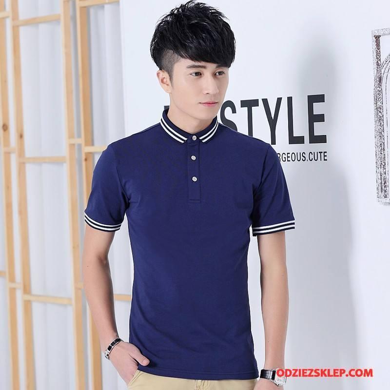 Męskie Koszulka Polo Biznes Gorąca Sprzedaż Krótki Rękaw Casual Mały Męska Ciemno Niebieski Kupię