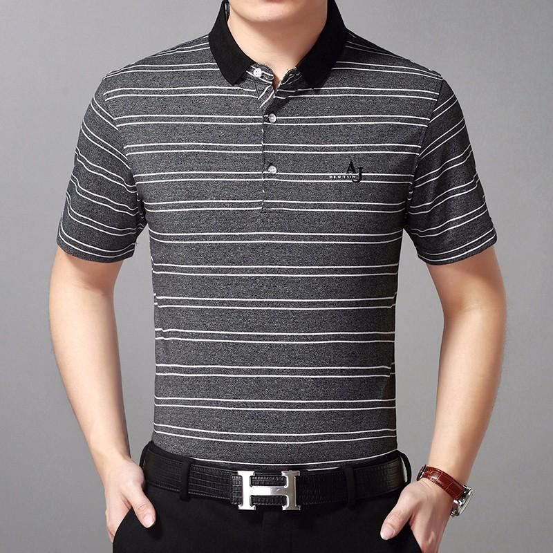 Męskie Koszulka Polo Casual T-shirt Krótki Rękaw Klapa W Średnim Wieku Cienkie Szary Ciemno Kupię