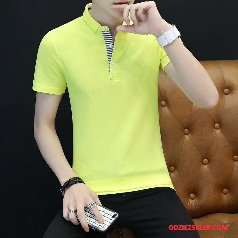 Męskie Koszulka Polo Krótki Rękaw Bawełniane Nowy Żółty Sprzedam