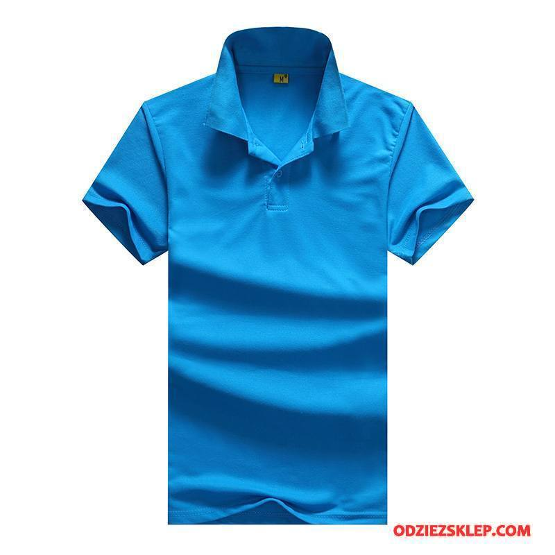 Męskie Koszulka Polo Krótki Rękaw Męska Casual Oddychające Cienka Lato Jasny Niebieski Czysta Tanie