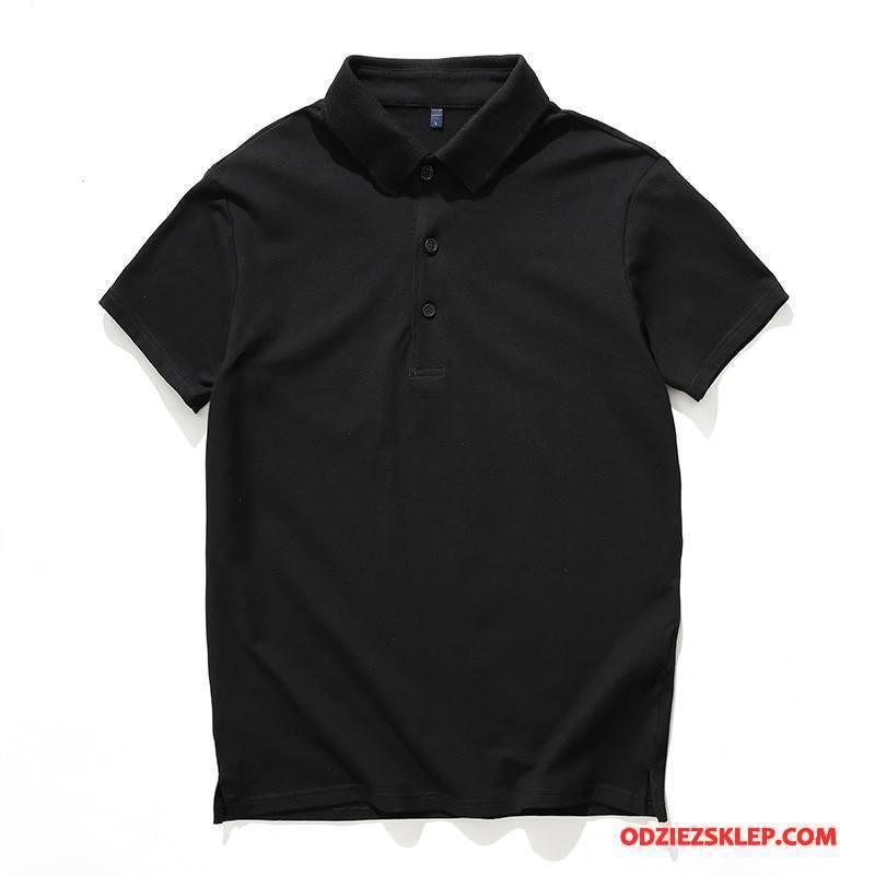 Męskie Koszulka Polo Krótki Rękaw Szerokie Lato Klapa T-shirt Męska Czysta Czarny Sklep
