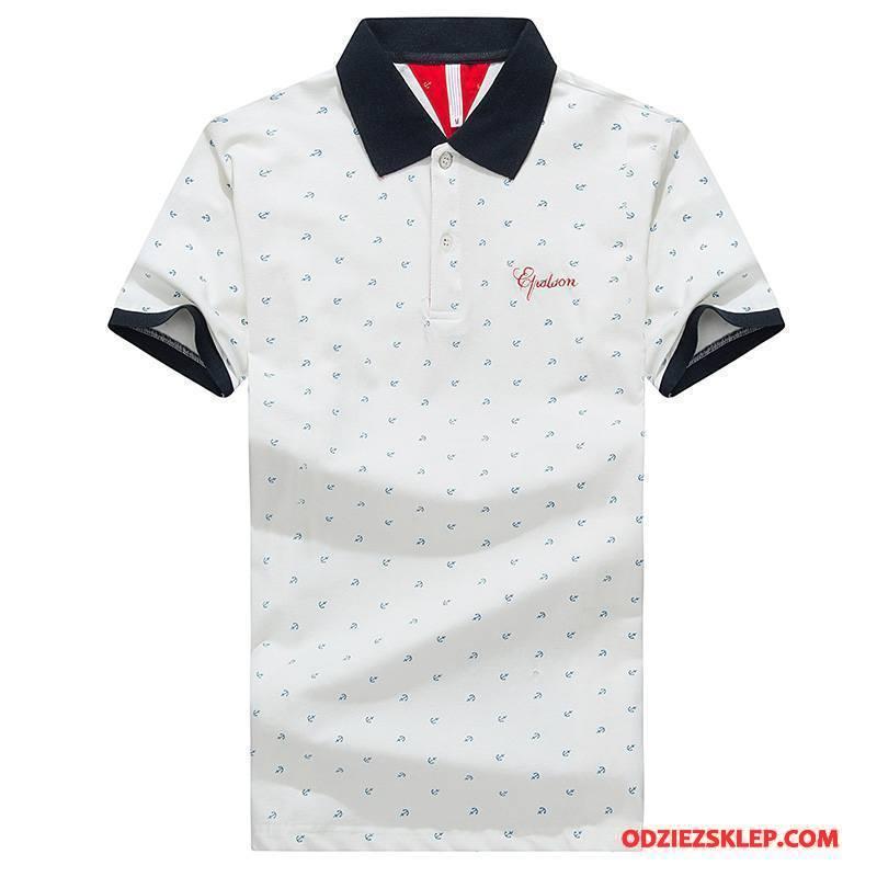 Męskie Koszulka Polo Krótki Rękaw Tendencja Męska Slim Fit Popularny Klapa Czysta Biały Sklep