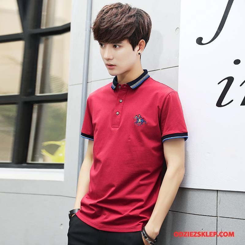 Męskie Koszulka Polo Krótki Rękaw Tendencja T-shirt Lato Klapa Slim Fit Czerwony Sklep