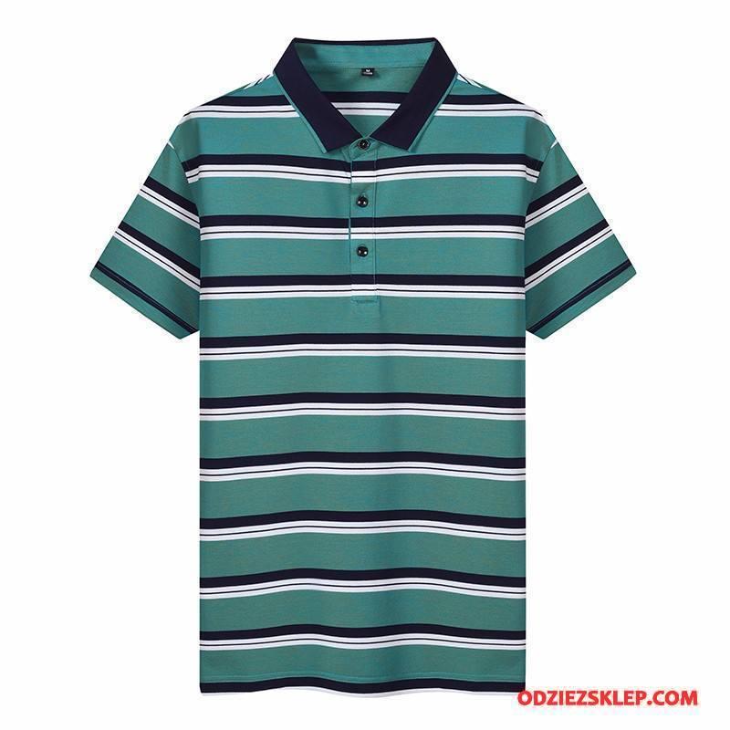 Męskie Koszulka Polo Krótki Rękaw Zielony Tanie