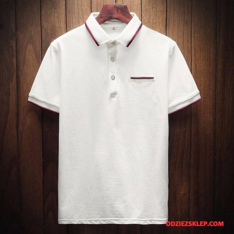 Męskie Koszulka Polo Krótkie Nowy Męska Moda Krótki Rękaw Młodzież Biały Tanie