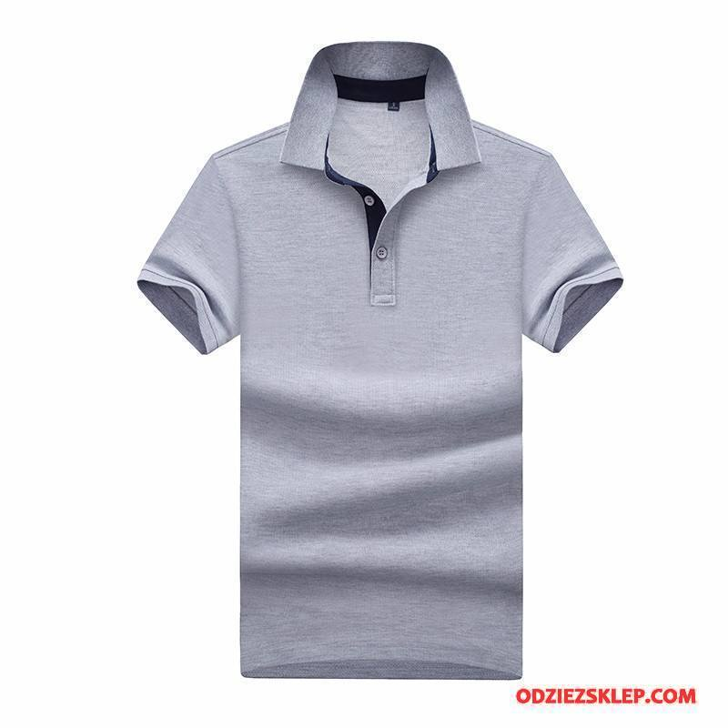 Męskie Koszulka Polo Lato Kołnierz V Krótki Rękaw Podkoszulek T-shirt Klapa Szary Sklep