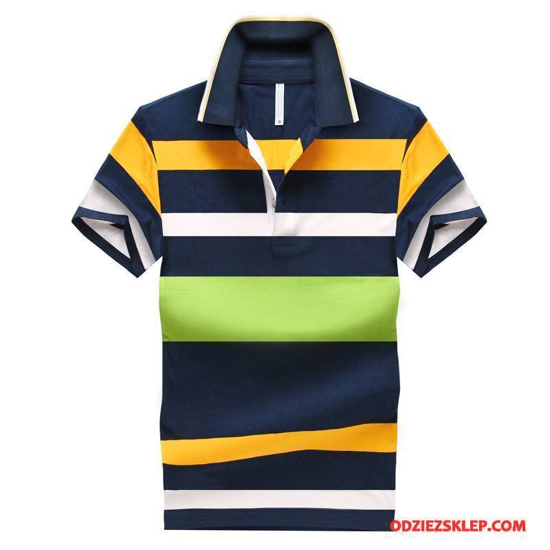 Męskie Koszulka Polo Slim Fit Męska Popularny Krótki Rękaw Lato Tendencja Czysta Czarny Tanie