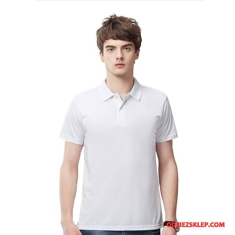 Męskie Koszulka Polo Szybkie Suszenie Klapa Lato Nowy Krótki Rękaw Biały Sklep