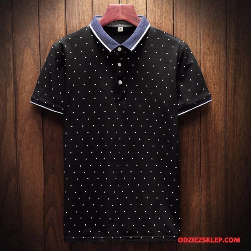Męskie Koszulka Polo Tendencja Nowy Butik Slim Fit Krótkie Krótki Rękaw Czarny Sklep