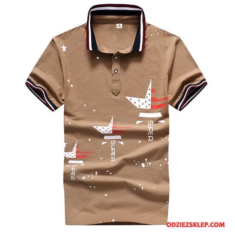 Męskie Koszulka Polo Tendencja T-shirt Osobowość Lato Męska 2018 Khaki Tanie