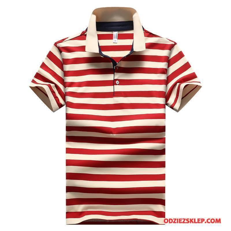 Męskie Koszulka Polo W Paski Krótki Rękaw Biznes Koszula Lato Męska Czerwony Kupię