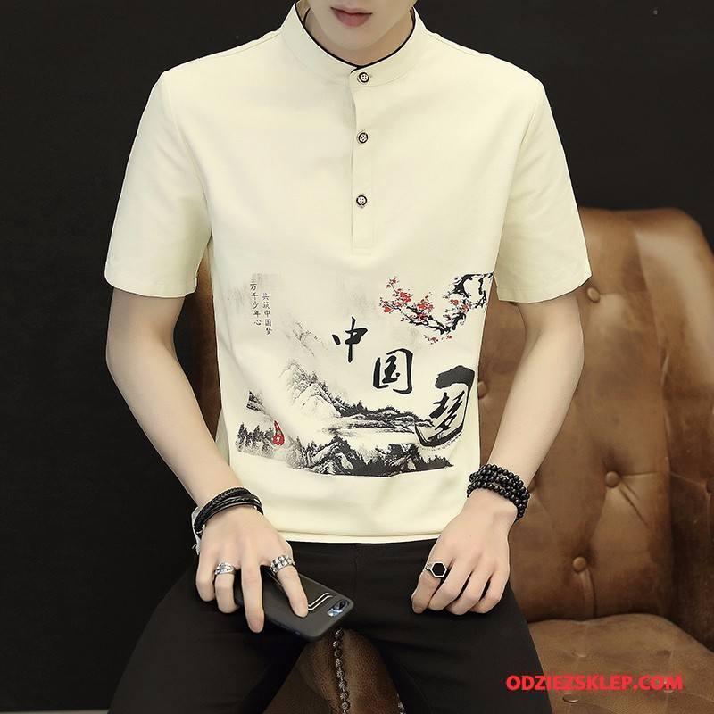 Męskie Koszulki Bawełna I Len Koszula Z Krótkim Rękawem Khaki Na Sprzedaż