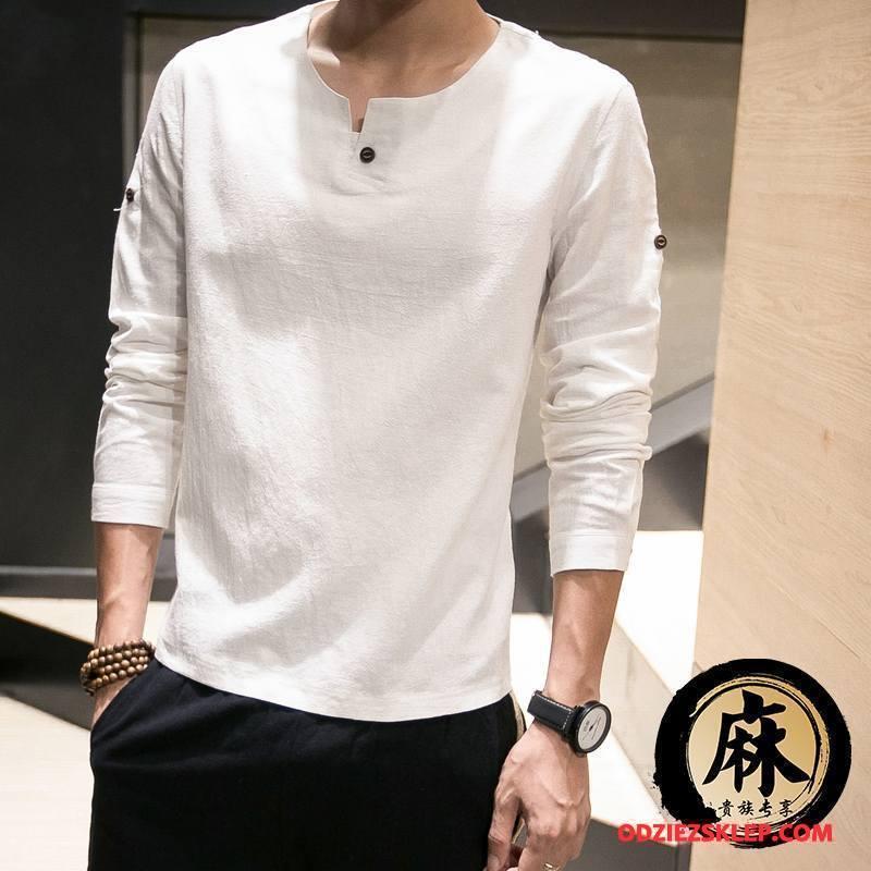 Męskie Koszulki Długi Rękaw Casual Chiński Styl Wiosna Etniczne Bawełna I Len Czysta Biały Tanie