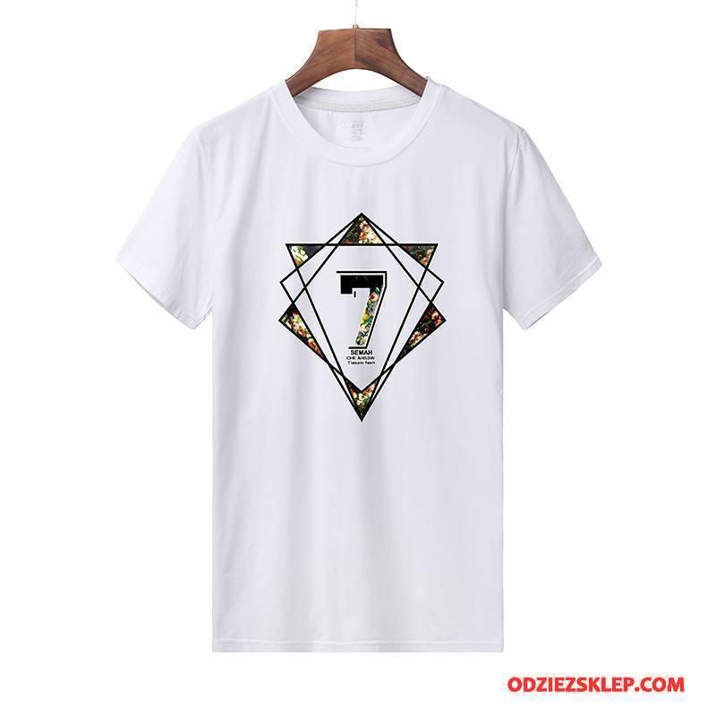 Męskie Koszulki Krótki Rękaw 2018 Slim Fit Drukowana Nowy Cienkie Biały Tanie