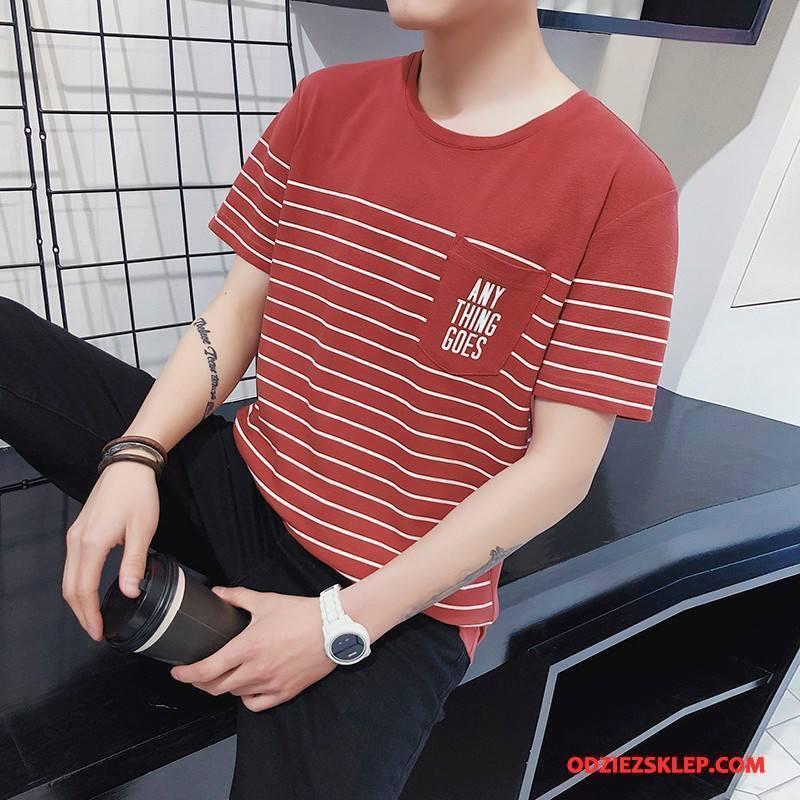 Męskie Koszulki Krótki Rękaw Lato Tendencja Nowy Czerwony Dyskont