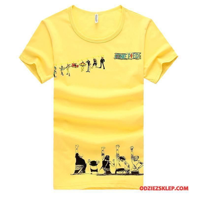 Męskie Koszulki Krótki Rękaw Nowy Żółty Tanie