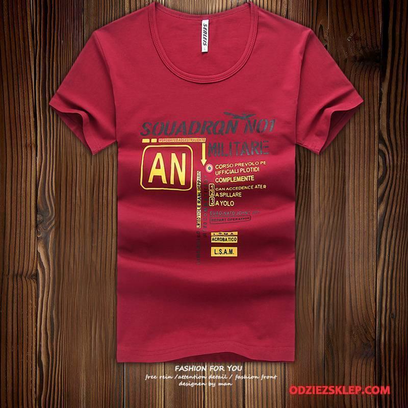 Męskie Koszulki Krótki Rękaw T-shirt Nowy Slim Fit Lato Tendencja Burgund Czysta Online