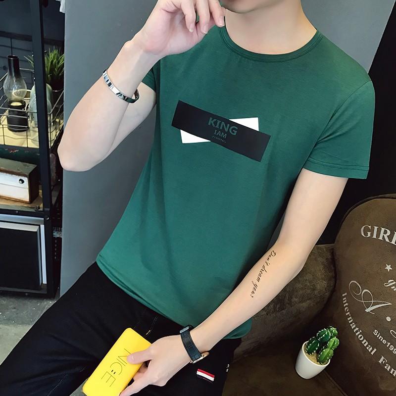 Męskie Koszulki Krótki Rękaw Topy T-shirt Lato Cienkie Krótkie Ciemnozielony Tanie