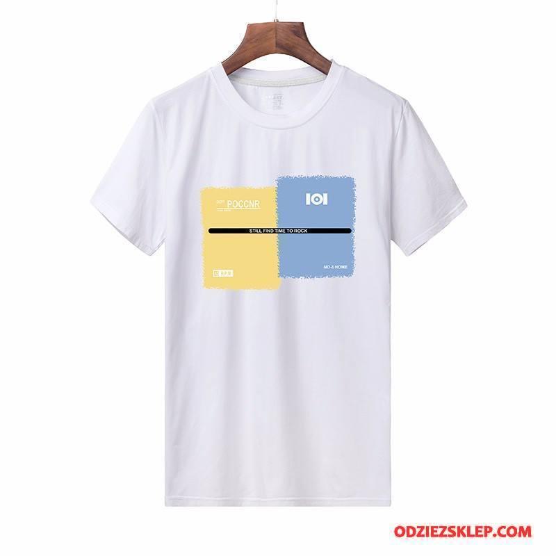 Męskie Koszulki Lato 2018 Męska Okrągły Dekolt T-shirt Bawełna Biały Kup