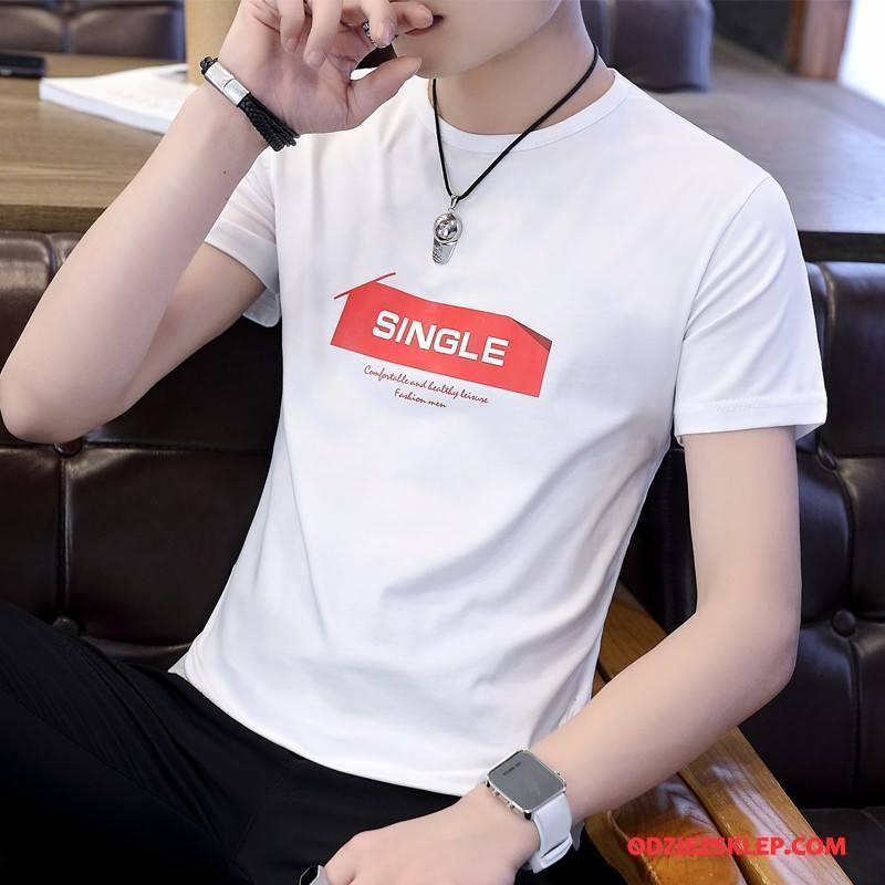 Męskie Koszulki Lato Bawełniane Krótki Rękaw Casual Slim Fit Biały Sprzedam