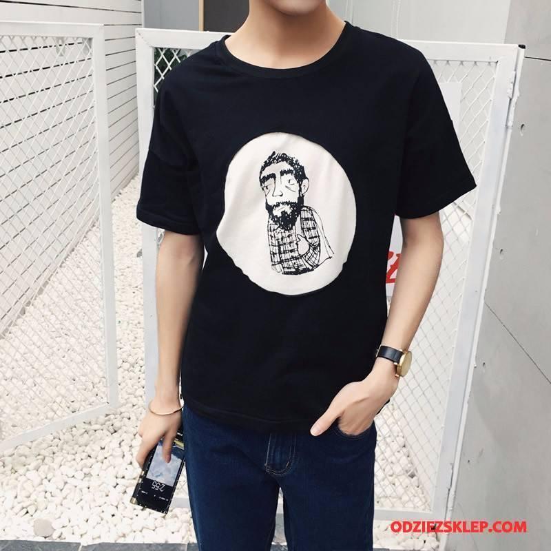 Męskie Koszulki Lato Męska Krótki Rękaw Slim Fit T-shirt Okrągły Dekolt Czarny Oferta