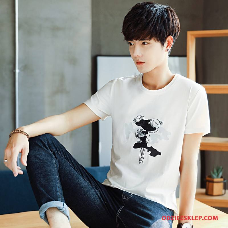 Męskie Koszulki Męska Moda Miasto Tendencja Krótki Rękaw Młodzież Biały Sprzedam
