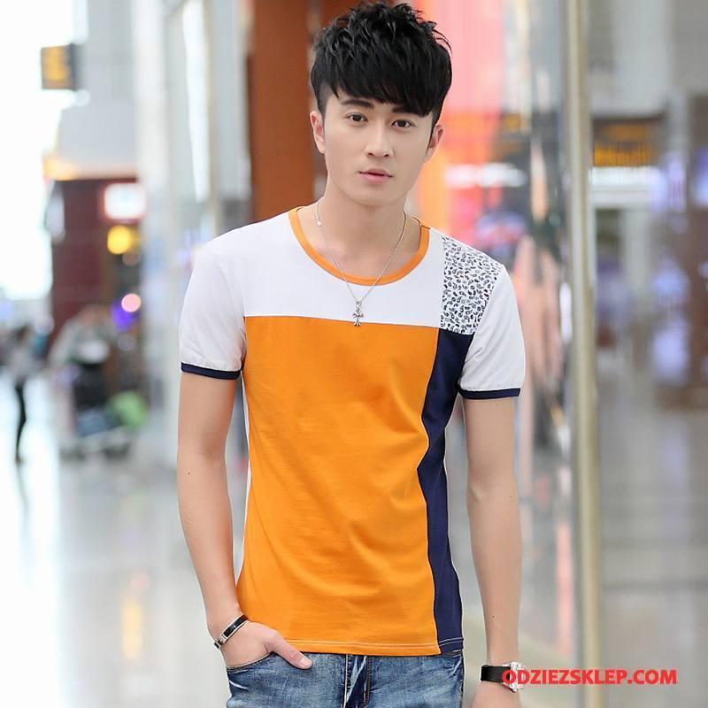 Męskie Koszulki Młodzież Okrągły Dekolt Moda T-shirt Męska Bawełna Żółty Online