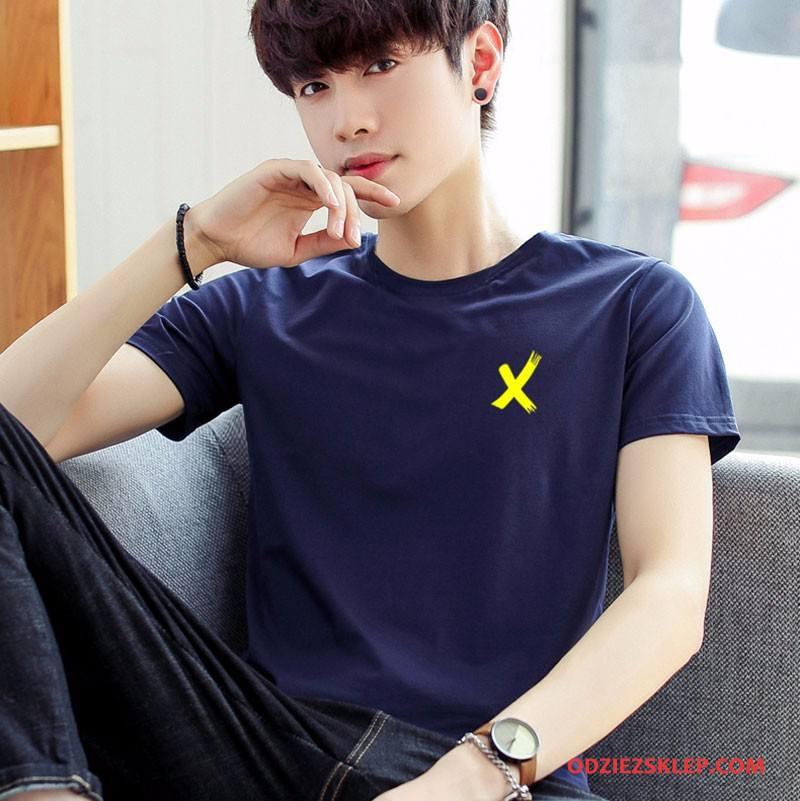 Męskie Koszulki Nowy Krótki Rękaw Tendencja Rękawy Męska Wiosna Ciemno Niebieski Online
