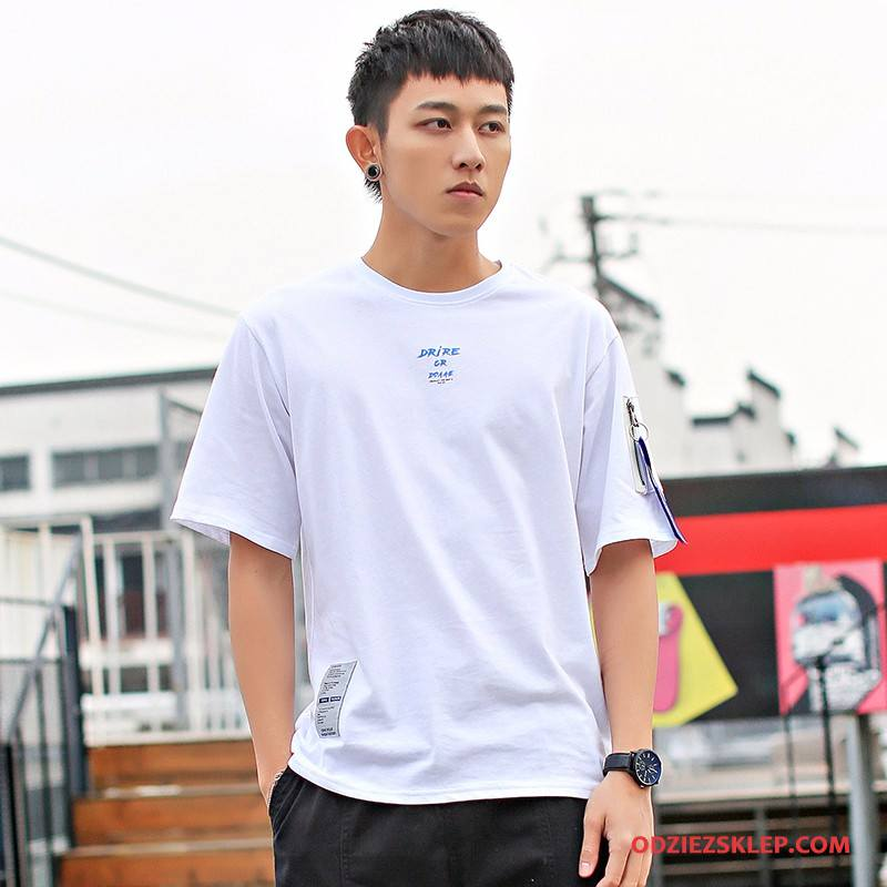 Męskie Koszulki T-shirt Nastolatek Lato Tendencja Męska Szerokie Biały Sklep