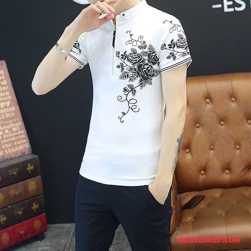 Męskie Koszulki Tendencja Krótki Rękaw Nowy Podkoszulek T-shirt Męska Czysta Biały Sprzedam